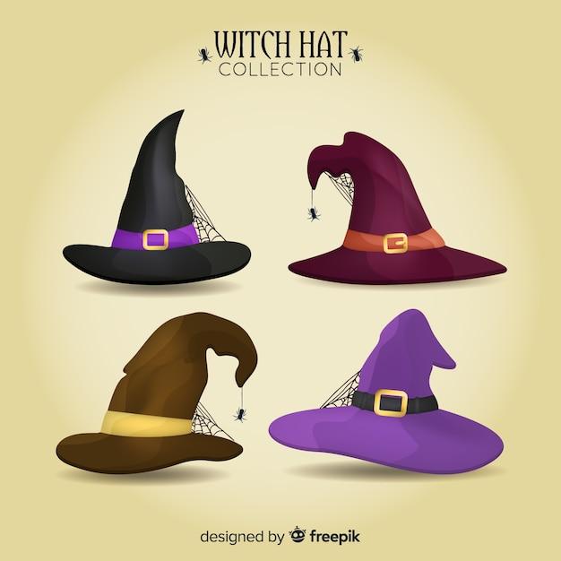 Coleção de chapéu de bruxa de halloween Vetor grátis