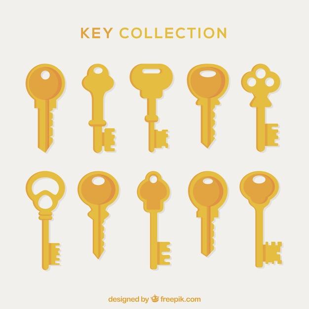 Coleção de chaves douradas Vetor Premium