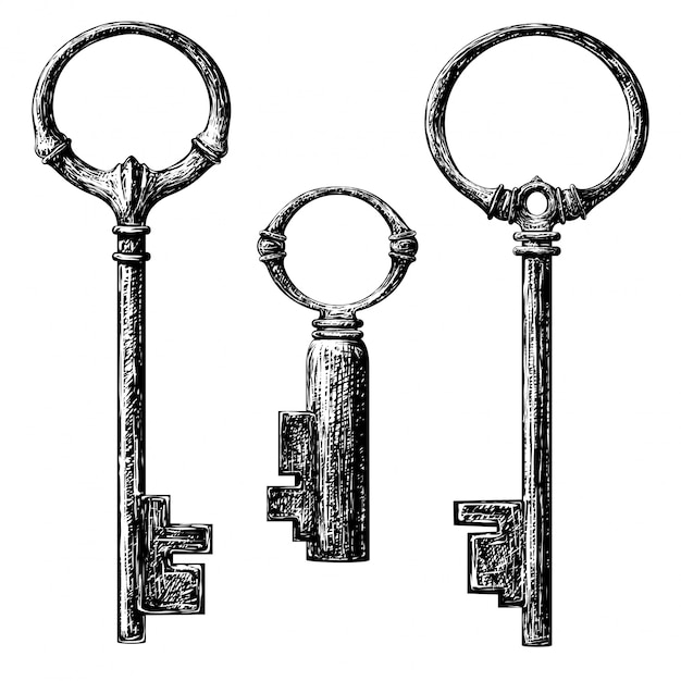 Coleção de chaves no estilo antigo Vetor Premium