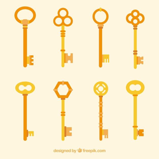 Coleção de chaves planas Vetor grátis