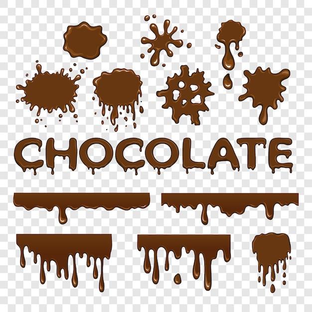 Coleção de chocolate splat Vetor Premium