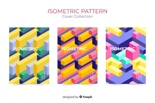 Coleção de cobertura de padrão isométrico Vetor grátis