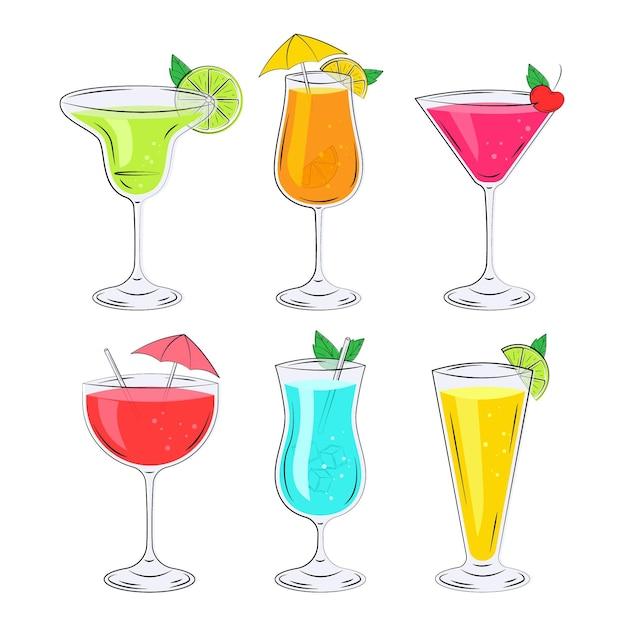 Coleção de cocktail desenhada de mão Vetor grátis