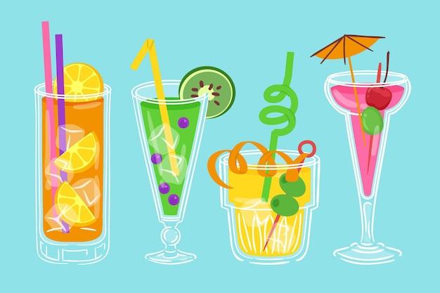 Coleção de cocktail desenhado conceito Vetor grátis