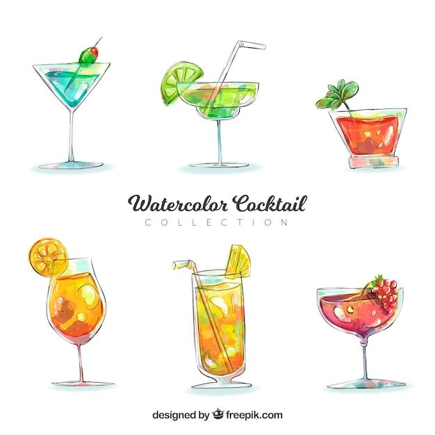 Coleção de cocktails de aquarela Vetor grátis