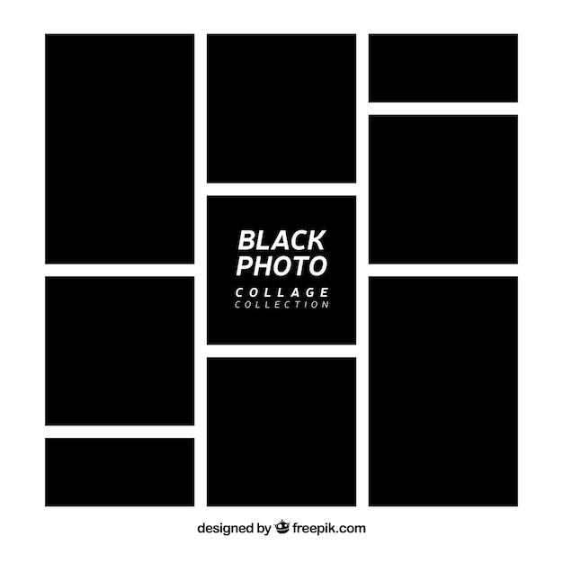 Coleção de colagem de moldura de foto preta Vetor grátis