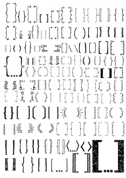 Coleção de colchetes desenhados mão Vetor grátis