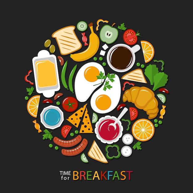 Coleção de comida de café da manhã no escuro Vetor Premium