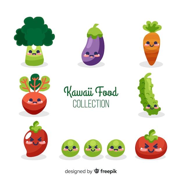 Coleção de comida kawaii Vetor grátis