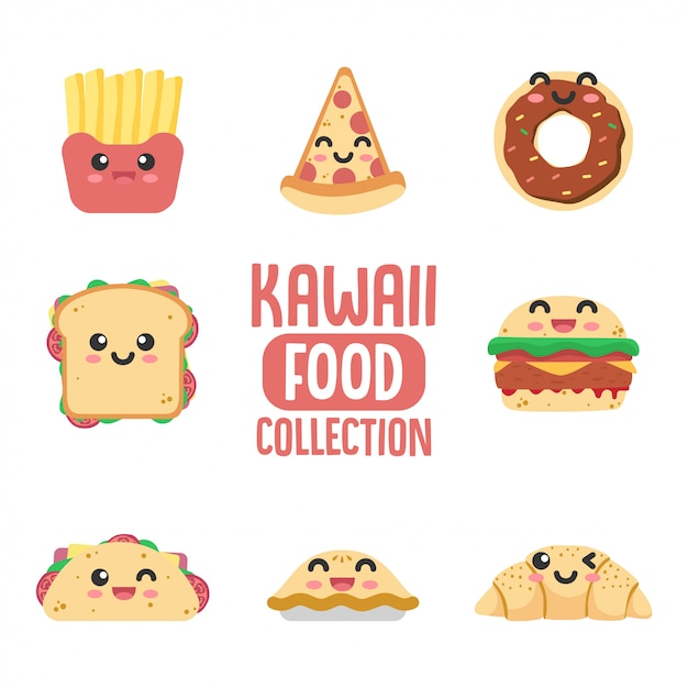 Coleção de comida kawaii Vetor Premium