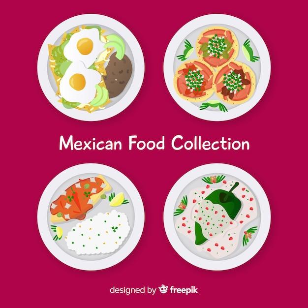 Coleção de comida mexicana Vetor grátis