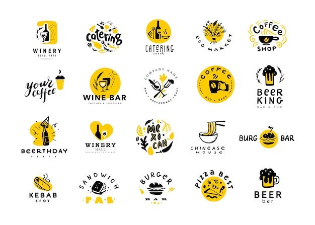Coleção de comida plana e logotipo de álcool conjunto isolado no fundo branco. elementos alimentares de mão desenhada, ícones de prato. Vetor Premium