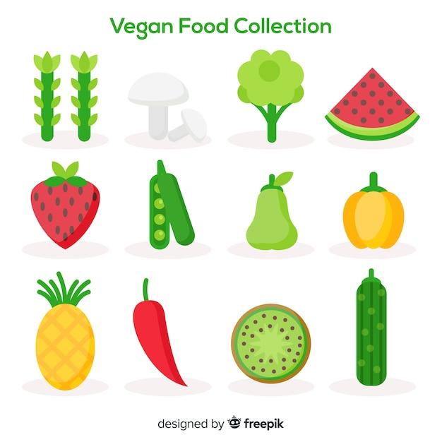 Coleção de comida vegana Vetor grátis