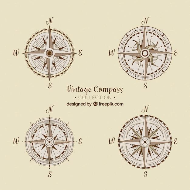 Coleção de compasso vintage Vetor grátis