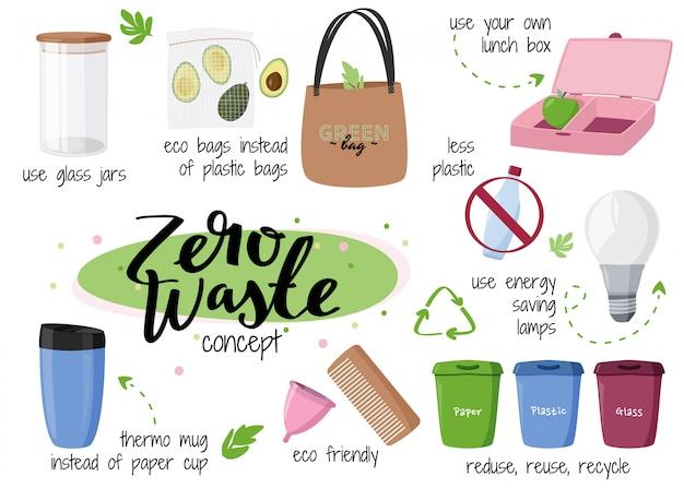 Coleção de conceito de desperdício zero. Vetor Premium