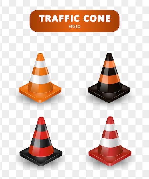 Coleção de cones de trânsito. conjunto isométrico de ícones para web design isolado no fundo branco. ilustração realista. Vetor Premium