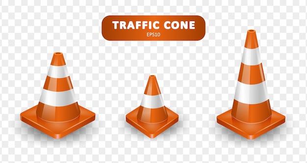 Coleção de cones de trânsito. isométrico conjunto de ícones para web em fundo branco. ilustração realista. Vetor Premium