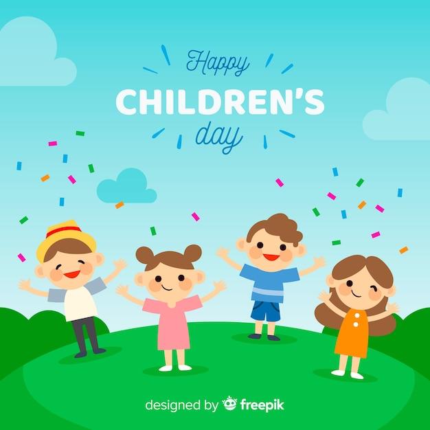 Coleção de confetes plana de dia das crianças Vetor grátis