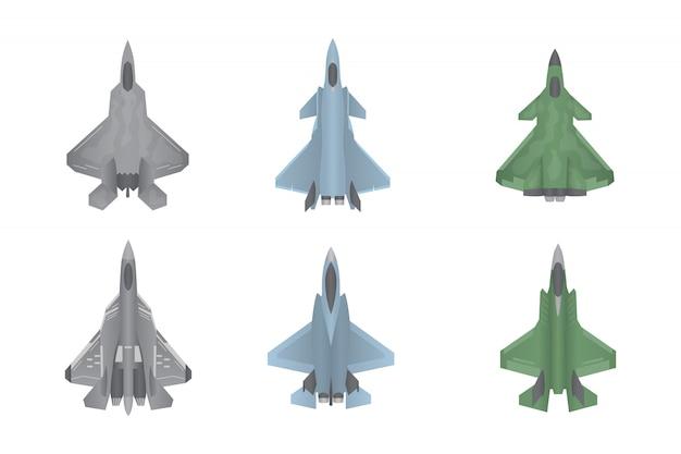 Coleção de conjunto de guerra de aviões de caça a jato Vetor Premium
