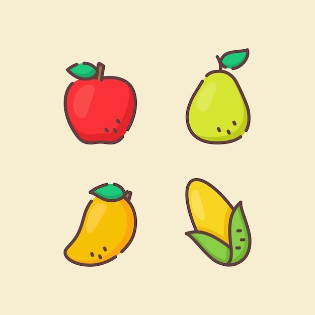 Coleção de conjunto de ícones de frutas maçã pêra manga milho branco Vetor Premium