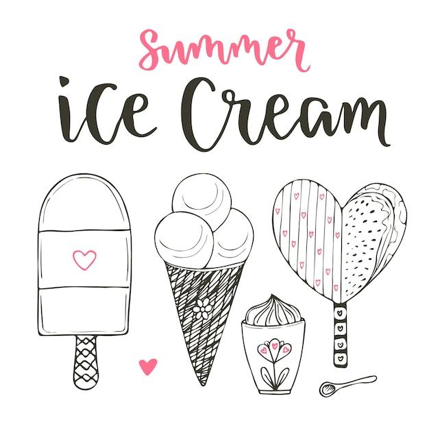 coleção de conjunto de sorvete de desenhos animados de vetores