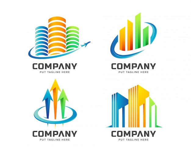 Coleção de conjunto imobiliário logotipo colorido Vetor Premium