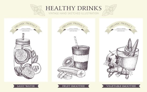 Coleção de coquetéis de desintoxicação. ilustrações de bebidas saudáveis vintage em estilo vintage. Vetor Premium