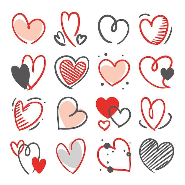 Coleção de coração desenhada à mão Vetor Premium