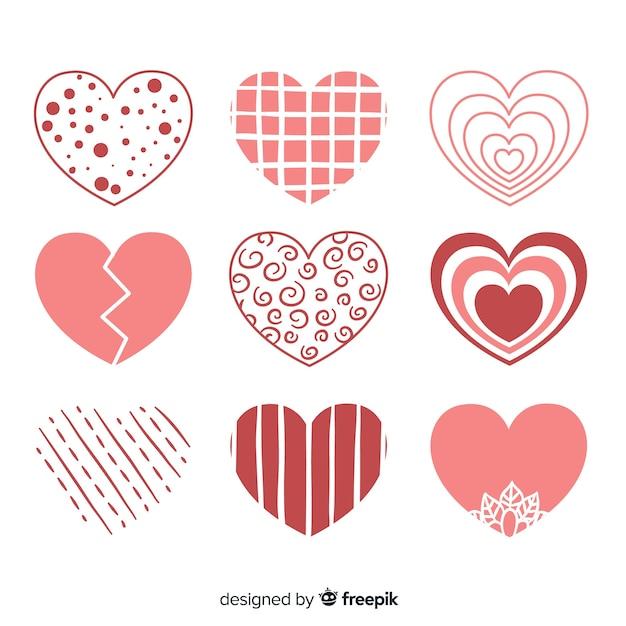 Coleção de coração liso Vetor grátis