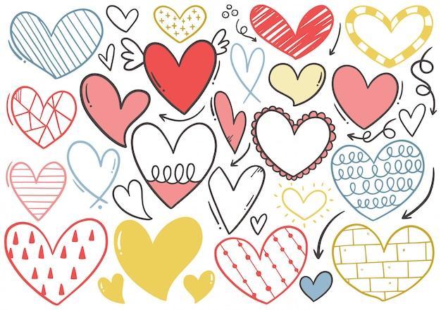 Coleção de coração mão desenhada doodle Vetor Premium