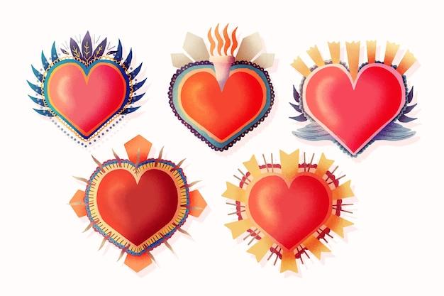 Coleção de corações sagrados vermelhos Vetor grátis