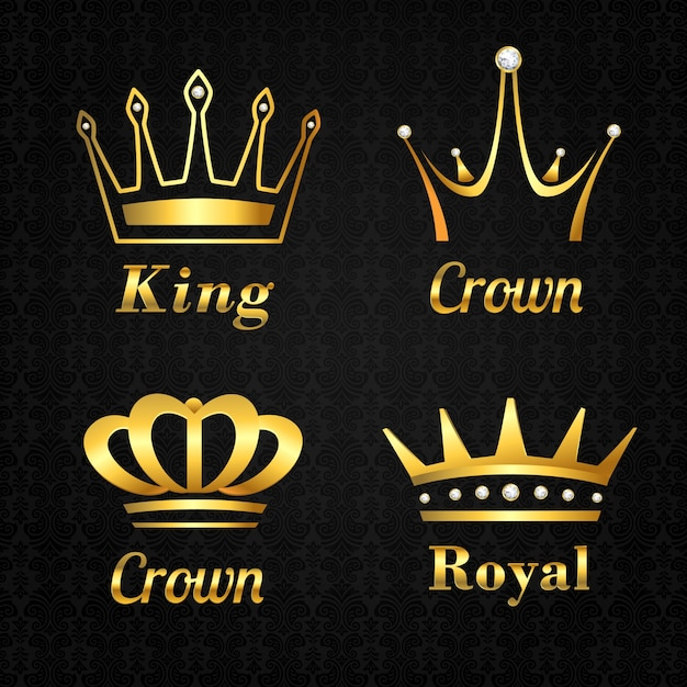 Coleção de coroas douradas Vetor grátis