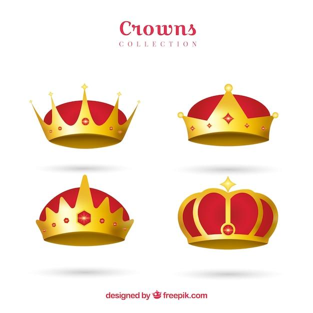 Coleção de coroas vermelhas e douradas em design realista Vetor grátis