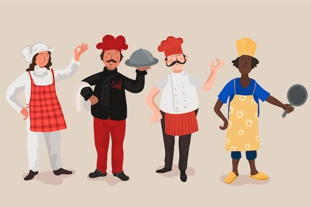 Coleção de cozinheiro chef Vetor grátis