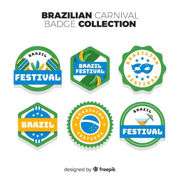 Coleção de crachá brasileiro carnaval Vetor grátis