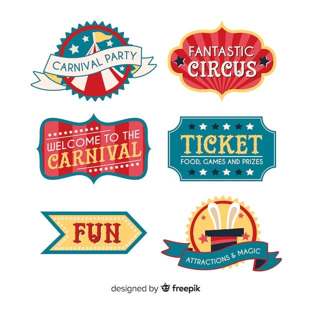Coleção de crachá de circo carnaval Vetor grátis