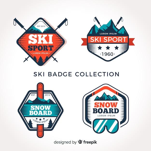 Coleção de crachá de esqui Vetor grátis