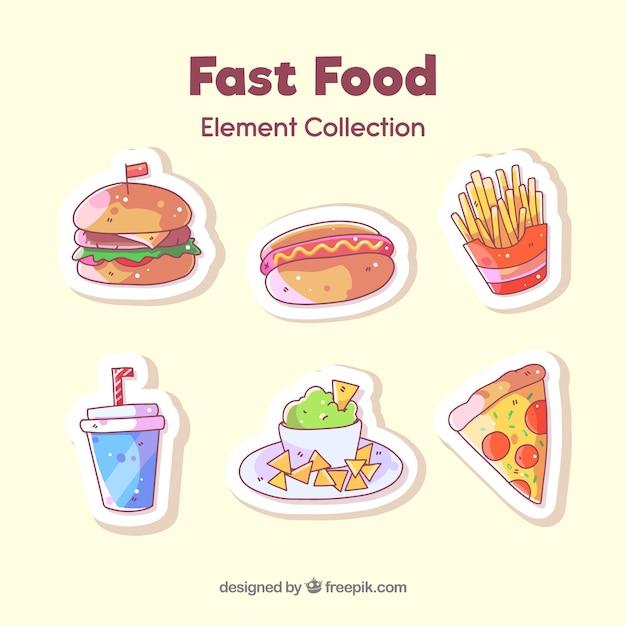 Coleção de crachá de fast-food Vetor Premium