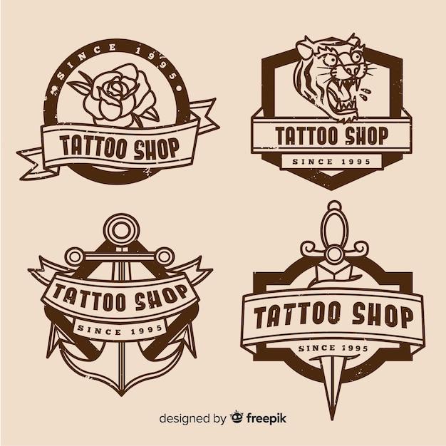 Coleção de crachá de loja de tatuagem Vetor grátis