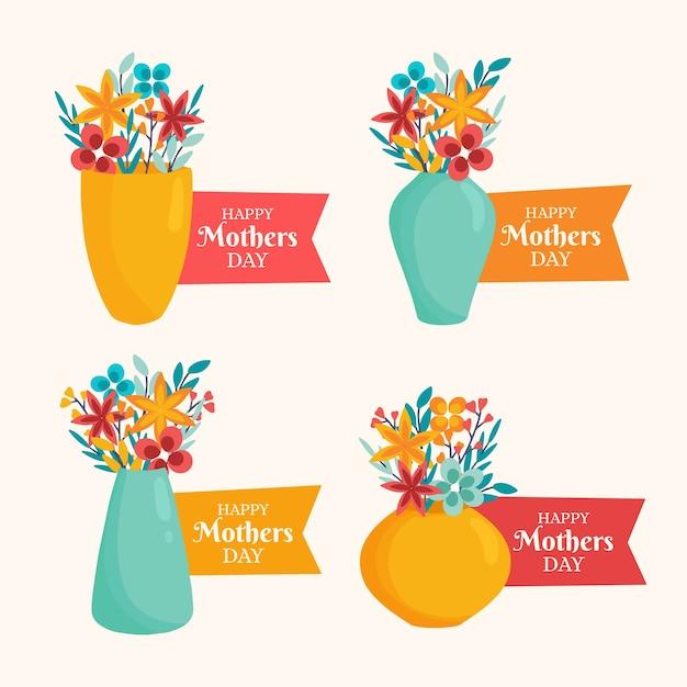 Coleção de crachá de mão desenhada dia das mães Vetor grátis