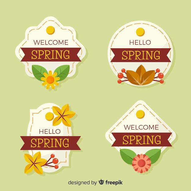 Coleção de crachá de primavera Vetor grátis