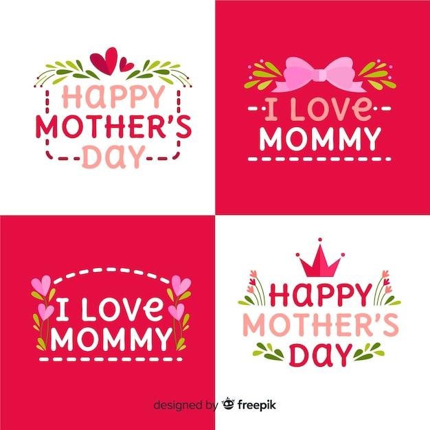 Coleção de crachá do dia das mães Vetor grátis