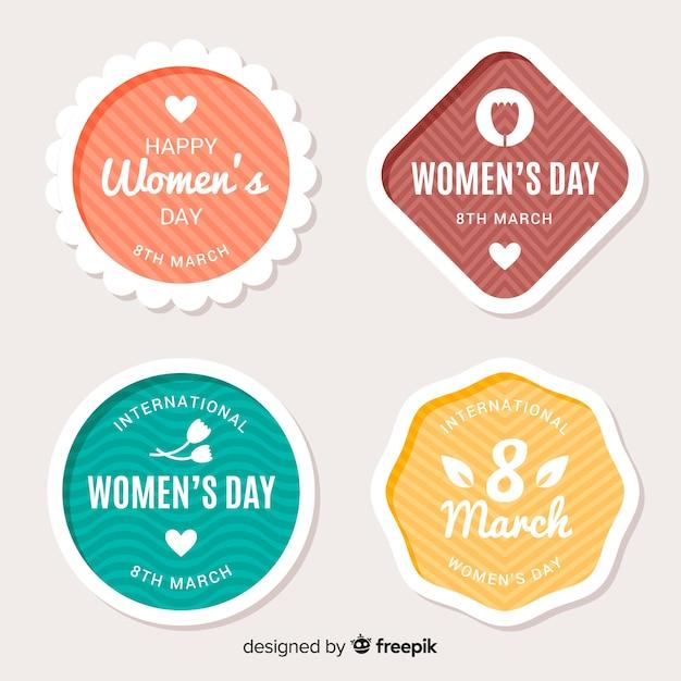 Coleção de crachá do dia das mulheres Vetor grátis