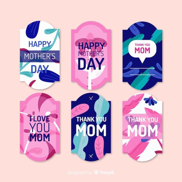 Coleção de crachá plana dia das mães Vetor grátis