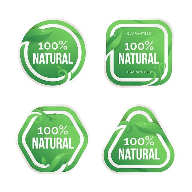 Coleção de crachás 100% natural Vetor grátis