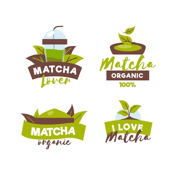 Coleção de crachás de chá matcha Vetor grátis