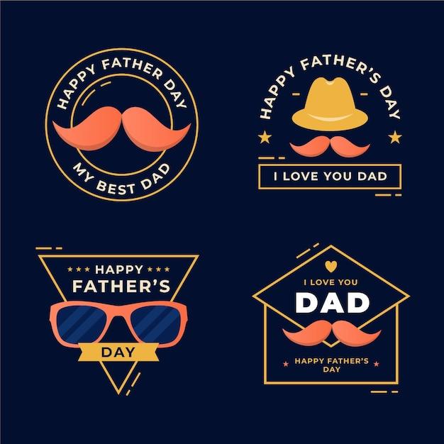 Coleção de crachás de dia dos pais de design plano Vetor grátis