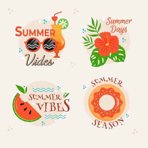 Coleção de crachás de verão Vetor grátis