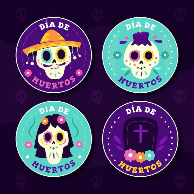 Coleção de crachás dia de muertos em design plano Vetor grátis