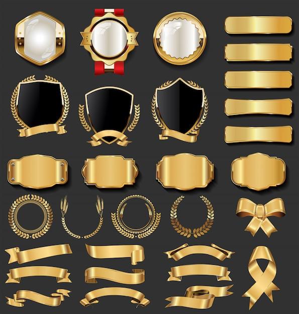Coleção de crachás e etiquetas de ouro vintage retrô Vetor Premium